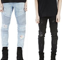 american rider - 2016 Fashion Mens Ripped Rider Biker Jeans Motorcycle Washed Black Blue Moto Denim hiphop Pants Joggers For Skinny Men L13