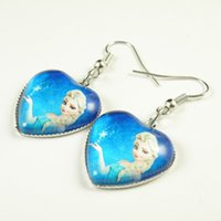 Wholesale Frozen Earrings Elsa Anna Heart Dangle Chandelier Earrings Women Children Girl Charm cartoon glass Pendant Earrings halloween Party Gift