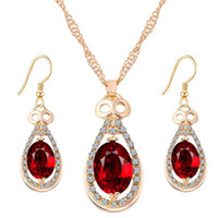Wholesale Fantastic Women s Girl s Jewelry Sets k Gold Plated Red Austrian crystal Chain Necklace Earrings Wedding Gifts