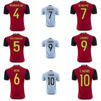Wholesale Thai Belgium euro Soccer Jersey home red football wear away blue belgium soccer shirt sportswear