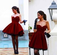 Wholesale 2016 Wine Red Fashion Prom Dresses Hot Sale Sweetheart Elegant Velvet Ruffle Skirts Formal Homecoming Gowns