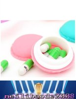 Wholesale Cute candy colored mini macarons modeling jewelry earrings necklaces rings portable storage box pill box pill case pill container MYY