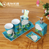bathroom kit sets - 6pcs set hand painted Floral birds pattern ceramic sanitary ware bathroom set products Hotel amenities kit accessories
