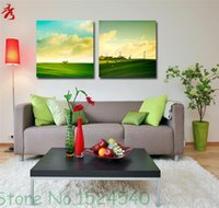 Digital printing beautiful landscaping photos - Blue Sky White Cloud Green Grass Beautiful Sheep Art Photo Prairie Landscape Modular Picture Room Wall Unframed Canvas Paintings