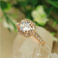Wholesale Hot Sell Pretty Fashion New Golden Color Rhinestone Stone Jewelry Ring Rings New G681