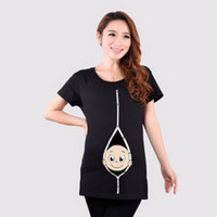 Wholesale Funny Pregnant Women T shirts O Neck Pregnancy long Tee shirts Maternity Clothes