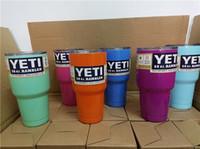 Wholesale 30oz YETI Rambler Tumbler Cup Colors Purple Pink Blue Light Blue Orange Light Green Bilayer Vacuum Insulation Cup Tumbler Mug