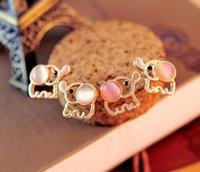 baby earrings white gold - Fashion Lovely Cute Baby Elephant Opal stud earrings women Statement earrings for party