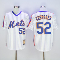 achat en gros de maillot authentique 52-2017 Hommes New York Mets 52 # Yoenis Céspedes 31 # Mike Piazza 48 # Jacob deGrom 34 # Maillots de base-ball Syndergaard Chemises de base-ball authentiques