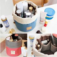 Wholesale HOT Latest design Barrel Shaped Travel Cosmetic Bag Nylon High Capacity Drawstring Elegant Drum Wash Bags Makeup Organizer Storage Bag cz