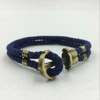 anchor rope double braid - Navy Wind Friendship Wristband Bronze Double Braided Anchor Bracelet Bangle For Women Men Rope Hooks Charm Bracelet
