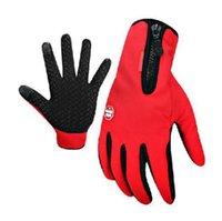fleece gloves - 2016 Autumn Winter Running Gloves Motorcycle Racing Bike Cycling Non slip fleece Full Finger Gloves Outdoor Sports Hiking Skiing