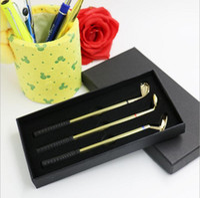 art trophies - Creative Golfers Replica Aluminum Alloy Ballpoint Pens Golf Ball Point Pen kits Mini Pen Set Gift Trophy Prize gold Set sets