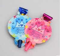 Wholesale Blue Pink Crown blowout for birthday party festival supplies cheering props child kids toy noise masker whistle