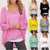 Cheap 2016 fashion Women Ladies New Oversized Loose Long Sleeve Shirt Blouse Baggy irregular Tops Jumper