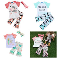 Wholesale 2016 Newest Girls Childrens Clothing Sets Short Sleeve tshirts Printed Pants Piece Set Letters Arrow Kids Clothes Suits Boutique Clothing