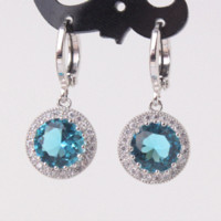 antique aquamarine earrings - MOLIAM Excellent Hot Selling Antique Earring Ladies18K White Gold Plated Aquamarine Rhinestone Crystal Dangle Earing E040e
