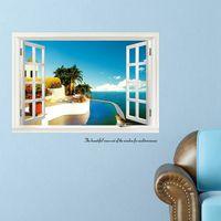 beautiful bathroom decor - Blue Sea Mediterranean D Window Beautiful View Wall Sticker Living Room Bed Room Home Decor Decal Art Removable Mural DIY