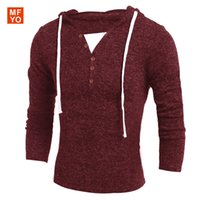Wholesale Autumn Winter Men s V neck long sleeved hooded sweater Casual Decorative buttons Hooded Solid Fashion Pullover Sweater Men