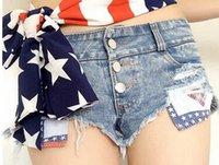 american flag denim shorts - European and American Fashion Women s Sexy Denim Shorts Hole low waist Denim Shorts Skinny Flag Tight Shorts Pocket