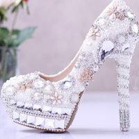 balls high heels - 2016 Gorgeous Pearl and Rhinestone Wedding Bridal Shoes Crystal High Heel Shoes Cinderella Ball Pumps Big Size White and Ivory Color