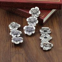 Wholesale 20pcs Silver Tone Slider Flower for Bracelet Necklace Cord Beads watch Chain Beads DIY Accessory x19mm fit x4mm K01223