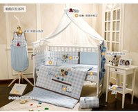 Wholesale 2016 Cotton Embroidery Light Blue Cartoon Dog Baby Bedding Set Quilt Pillow Bumper Bed Sheet Item Crib Bedding Set