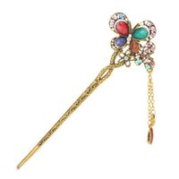 acrylic hairwear - New Hair Jewelry Vintage Antique Gold Plated Crystal with Acrylic Butterfly Hair Sticks Hairwear For Fahsion Women DHF037