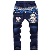 Wholesale Autumn Minnie Girls Jeans for Years Teenagers Big Girl Casual Demin Pants Clothes Elastic Waist Girls Jeans Fille
