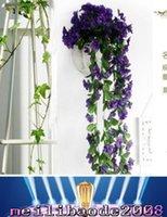 200 Почки / 90см Реалистичного Фиолетовый Орхидея Ivy Искусственный цветок Висячие завод Шелковый Garland Vine 6 цветов, африканские Фиолетовый MYY