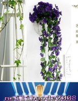 african wall hangings - 200 buds cm Lifelike Violet Orchid Ivy Artificial Flower Hanging Plant Silk Garland Vine Colors African Violet MYY