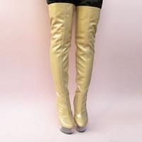 Ultra 15cm sexy sur le genou bottes de mode PU PU cuisse bottes hautes bottes sexy longue pour les femmes