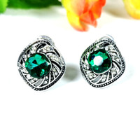 Cheap Antique Silver Emerald Dome Swirl Square Stud Earrings Push Back Crystal Pave Curved Row Open Vintage Green Stone Earrings