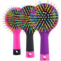 Wholesale Round Rainbow Detangling Hair Brush Teezer Massage Tangle Hairbrush Combs Wet Dry Brush Mirror Hair Care Styling Tools