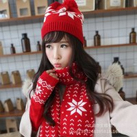 Wholesale New winter snow reindeer girls warm hat scarves gloves three piece suite with