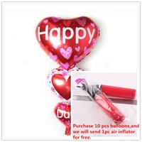 balloon string - Foil Balloons Party Decoration x62 cm String Heart Aluminum Film Balloon Happy Day Red Three Heart Balloon Wedding Party Supplies