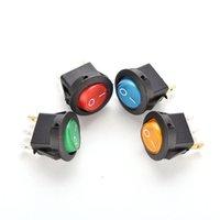 Wholesale DC V A ON OFF LED DOT ROUND ROCKER SPST TOGGLE SWITCH CAR BOAT LIGHT YY361