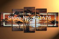 african mountains - Hand painted wall art picture brown decor landscape African mountain tree lake sunset oil painting on canvas set framed