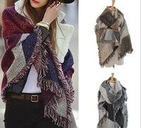 Wholesale New Women Fashion Warm Plaid Scarf Female Fringed Woolen Shawl Cashmere Colors HJIA776