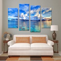 beautiful painting ideas - 4PCS beautiful ocean sunset landscape Wall painting print on canvas for home decor ideas paints on wall pictures art No framed