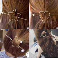 Wholesale lady female vintage unique hair pins hallow out arrow heart star circle sets ponyhair hairpins jewelry