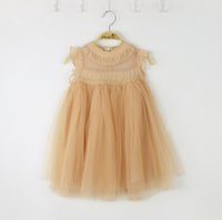 Wholesale 2016 new children princess dress Girls lace ruffle fly sleeve tulle dress kids lace vest party dress Elegant Girl Dresses A8983