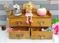 Wholesale 4pcs Drawers Lockers Zakka cm Wooden Storage Drawers Sundries Cosmetic Organization Box Case Bins Cabinets with Letters