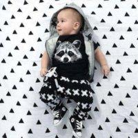 Wholesale 2016 Summer Brand Baby Boys Clothing Set Short Sleeve Black Baby Boy Clothes Set Children Letter T Shirt Pant Set