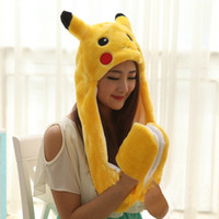 best beanie - Poke Go Pikachu Plush Hat With Gloves Cosplay Cap Long Ear flap Lovely Warm Hat Gloves Hollween Christmas Best Gift PKC010