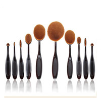 Wholesale Makeup brushes sets Oval Toothbrush Foundation Eye Shadow Blusher Cream Puff Cosmetic Powder Curve Brush Makeup Tools black rose gold