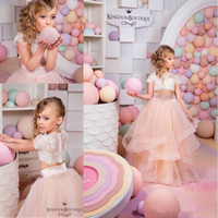 Wholesale 2016 Hot Sale Two Pieces Blush Pink Flower Girls Dresses for Wedding Lace First Communion Tutu Dress Girls Pageant Gowns
