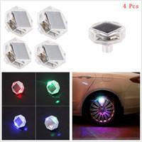 airs led signals - 4Pcs Color LED Solar Car Wheel Signal Tire Air Valve Cap Light Flash Decor Lamp
