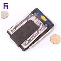 Wholesale Famous brand Men s wallet genuine leather money clip vintage magnet magic clip wallet with card ID Case