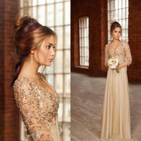 Wholesale 2016 Fashion Elegant Top Lace Backless Long Sleeves Prom Dresses V Neck Beading Sequined Crystal Empire Chiffon Sexy Evening Gowns